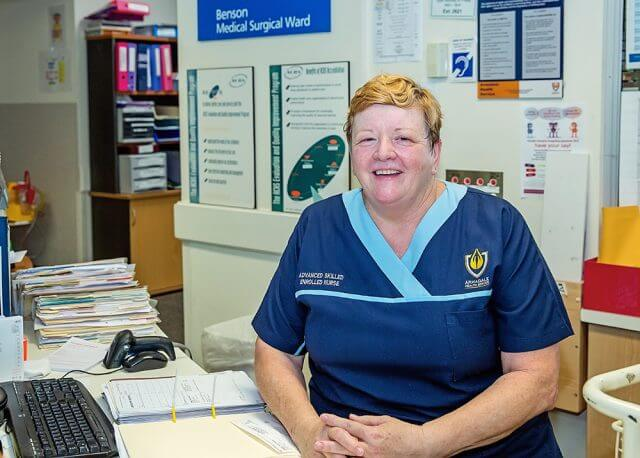 Palliative care nurse Shona Fowler is a finalist in the WA Nursing and Excellence Awards. Photograph — Kelly Pilgrim-Byrne.