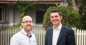 Greens candidate for Hasluck Patrick Hyslop and Senator Scott Ludlum.