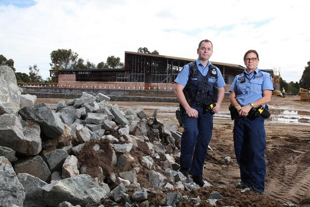 Acting senior sergeant Bron Umbras and first class constable Colleen Grey check the progress at the new Mundijong police station. Photograph — Matt Devlin.