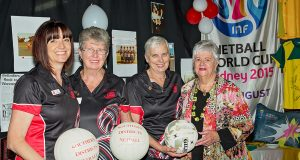 Jayne Lill, Irene McKay, Helen Robinson and Helen Prince celebrate the 50th birthday of the Southern Districts Netball Association. Photograph — Kelly Pilgrim–Byrne.