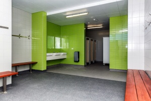 The change rooms can be combined for larger sports teams. Photograph - Kelly Pilgrim-Byrne.